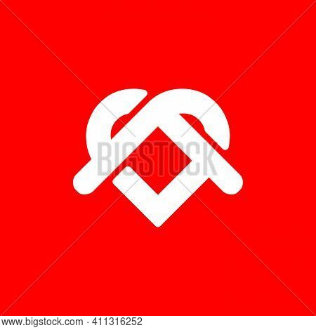 Initial Letter S, Ss, P, Sp Or Ps Logo Template With Rounded Geometric Housing Roof And Heart Illust