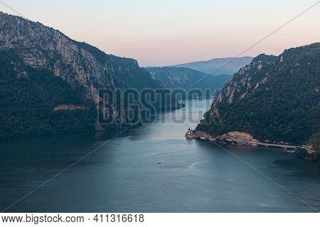 High Cliffs Along The Danube River . High Cliffs Along The Danube River . Cazanele Dunarii Spectacul