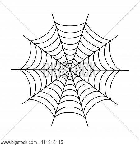 Symmetrical Spider Web. Halloween Spider Web Isolated On White Background. Outline Vector Illustrati