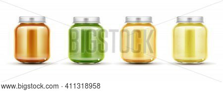 Baby Food Jars Set, Glass Puree Bottles With Cap Isolated On White Background Mock Up Design. Blank