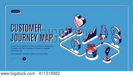 Customer Journey Map Isometric Landing Page. Process Of Purchasing Decision, Buyer Make Purchase Mov