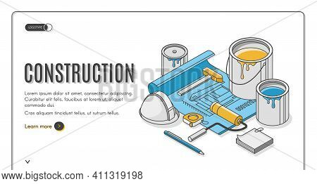 Construction Plan Isometric Landing Page, Engineering Blueprint With Grid And Tools For House Renova