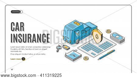Car Insurance Isometric Landing Page, Auto Financial Protection With Shield And Padlock On Paper Doc