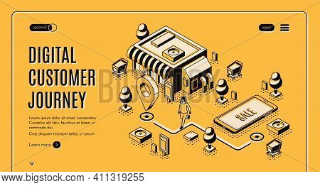 Digital Customer Journey Map Isometric Landing Page. Process Of Purchasing Decision, Buyer Make Purc