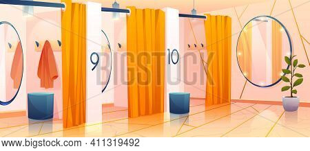 Fitting Rooms In Store, Row Of Vacant Individual Dressing Cabins With Curtains, Mirrors And Hangers