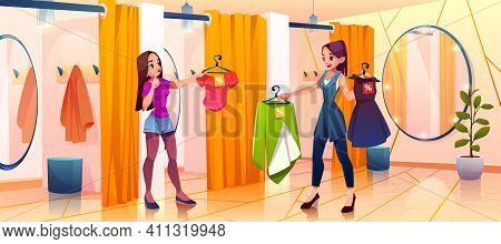 People In Store Fitting Room Try On Clothes, Saleswoman Bring Garment To Girl Stand In Dressing Cabi