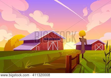 Farm On Nature Rural Background With Barn, Green Field, Stack Of Hay And Scarecrow Under Cloudy Suns