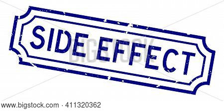 Grunge Blue Side Effect Word Rubber Business Seal Stamp On White Background