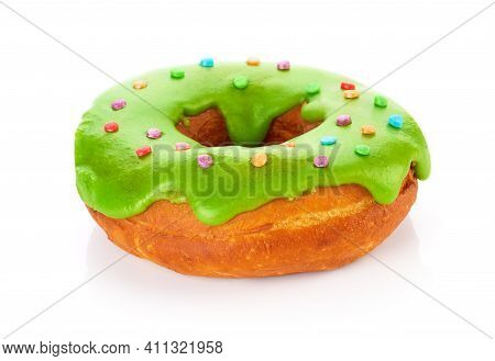 Donut With Colored Glaze, Isolated On White Background. Glaze With Natural Dye (spinach).fit For You