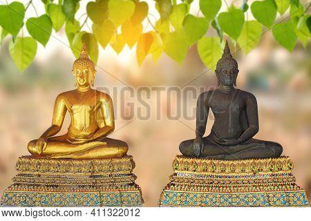 Buddha Statue In Buddhism Belief, Blurred Background