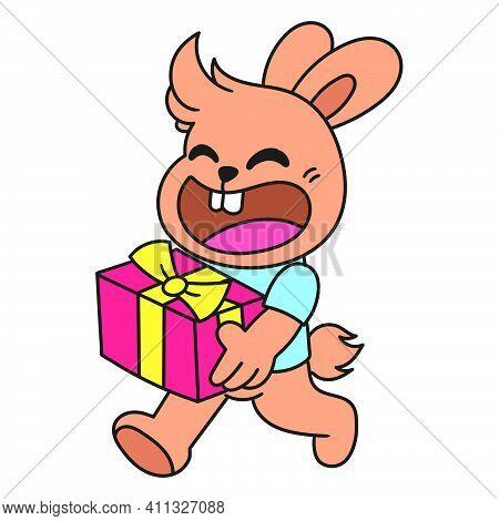 The Rabbit Brings A Birthday Present Doodle Kawaii. Doodle Icon Image. Cartoon Caharacter Cute Doodl