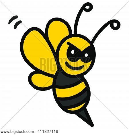 Wasp Stinging Doodle Kawaii. Doodle Icon Image. Cartoon Caharacter Cute Doodle Draw
