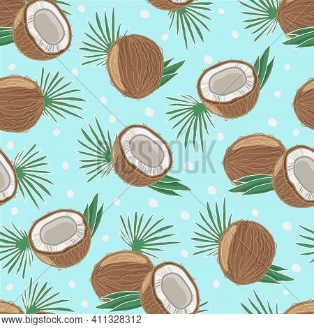 Seamless Pattern With Coconut And Palm Leaves. Vector Illustration. The Objects Are Isolated.