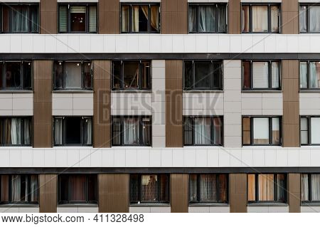 Residental Buildings And Condominium Facade. Residential Neighborhoods Of The City. Monolithic House