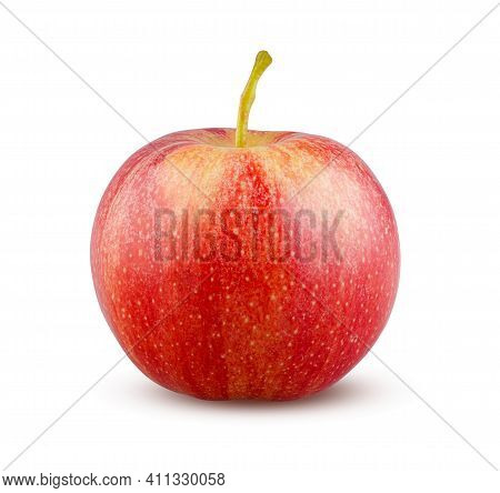 Red Apple Isolated On White Background. Tasty Fruit Part. Juicy And Delicious Apple Closeup. Dieting