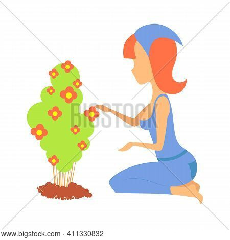 Woman Gardener With A Cart And Flowers. Female Character In A Garden Growing Plants. Gardening Toget