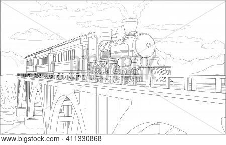 Vector Coloring Page With 3d Model Train On The Bridge. Beautiful Vector Illustration With Train Tra