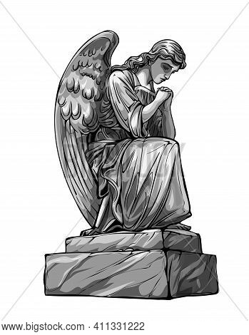 Crying Praying Angel Sculpture With Wings. Monochrome Illustration Of The Statue Of An Angel. Isolat