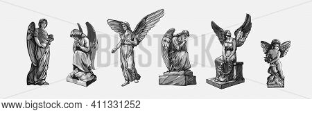 Set Off Crying Praying Angels Sculptures With Wings. Monochrome Illustration Of The Statues Of An An