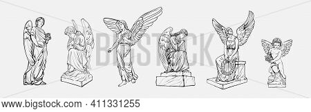 Set Off Crying Praying Angels Sculptures With Wings. Coloring Page Of The Statues Of An Angel. Silho