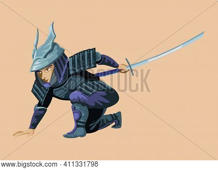 Ancient Cartoon Huge Warrior Fighter Soldier And Military Man In Samurai Light Armor From Various Cu