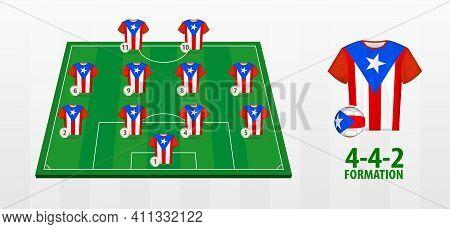 Puerto Rico National Football Team Formation On Football Field. Half Green Field With Soccer Jerseys