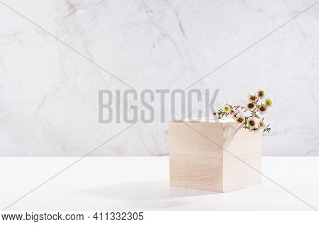 Elegant Beige Wooden Cube Podium With White Tiny Spring Flowers On White Board And Grey Marble Wall