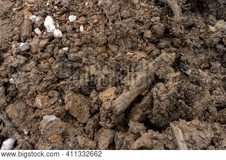 Mud Texture Or Moist Brown Soil In The Form Of A Mixture Of Natural Organic Clay And Geological Depo