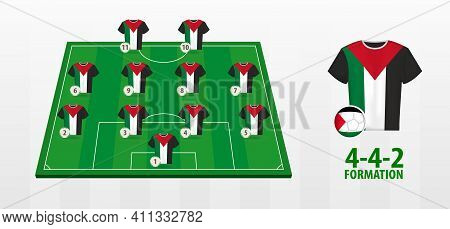 Palestine National Football Team Formation On Football Field. Half Green Field With Soccer Jerseys O