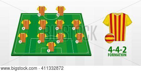 Catalonia National Football Team Formation On Football Field. Half Green Field With Soccer Jerseys O