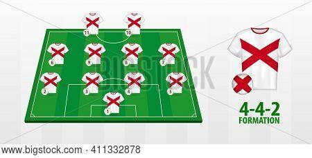 Alabama National Football Team Formation On Football Field. Half Green Field With Soccer Jerseys Of