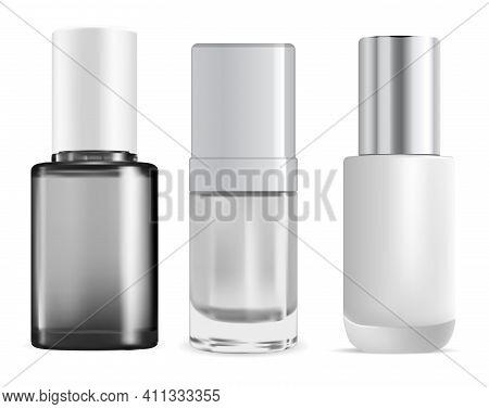Nail Polish Bottle. Enamel Cylinder Packaging Mock Up. Fingernail Paint Realistic Glossy Glass Bottl