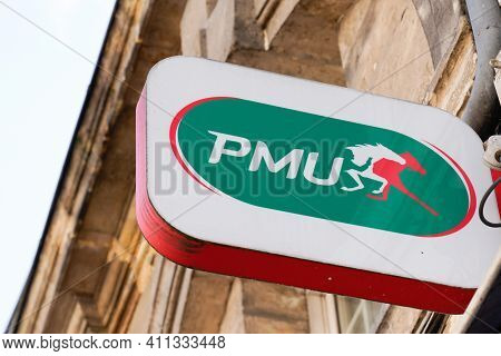 Bordeaux , Aquitaine France - 03 03 2021 : Pmu Wall Logo And Text Brand Sign Store Famous French Sho