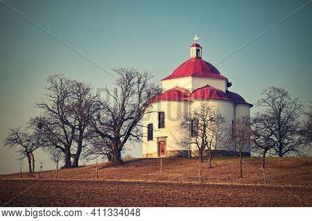 Chapel Of The Holy Trinity - Beautiful Small Chapel On The Hill At Sunset. Rosice - Czech Republic.