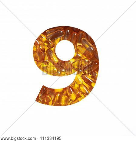 Omega Vitamins Supplement. Number Nine Made Of Fish Oil Pills And Paper Cut In Shape Of Ninth Numera