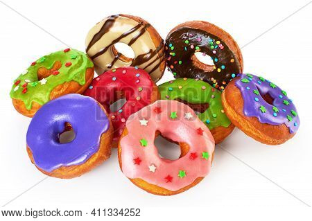 Donuts With Colored Glaze And Chocolate, Isolated On White Background.