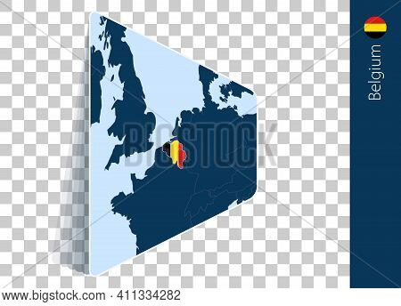 Belgium Map And Flag On Transparent Background. Highlighted Belgium On Blue Vector Map.