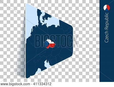 Czech Republic Map And Flag On Transparent Background. Highlighted Czech Republic On Blue Vector Map