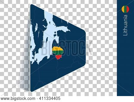 Lithuania Map And Flag On Transparent Background. Highlighted Lithuania On Blue Vector Map.