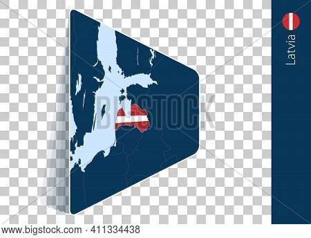 Latvia Map And Flag On Transparent Background. Highlighted Latvia On Blue Vector Map.