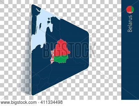 Belarus Map And Flag On Transparent Background. Highlighted Belarus On Blue Vector Map.