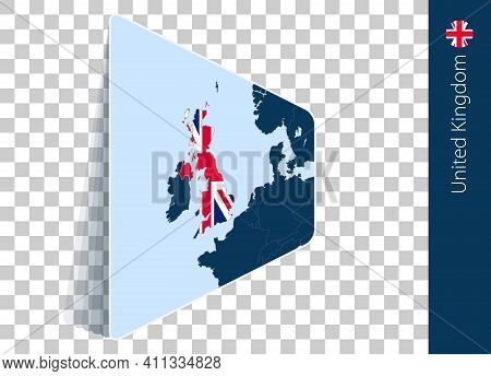 United Kingdom Map And Flag On Transparent Background. Highlighted United Kingdom On Blue Vector Map