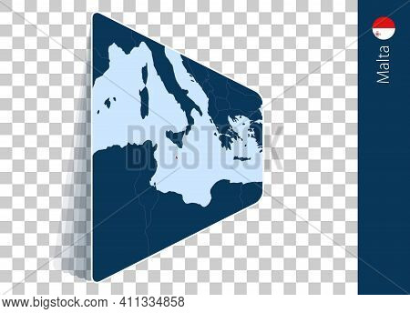 Malta Map And Flag On Transparent Background. Highlighted Malta On Blue Vector Map.