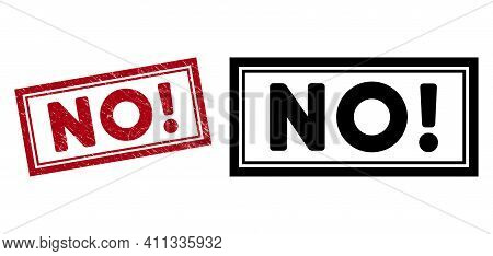 No Exclamation. Seal Stamp. Red Vector Rectangle Scratched Seal Stamp With No Exclamation. Caption,