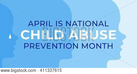 National Child Abuse Prevention Month Banner Design Template. Celebrate Annual In April In United St