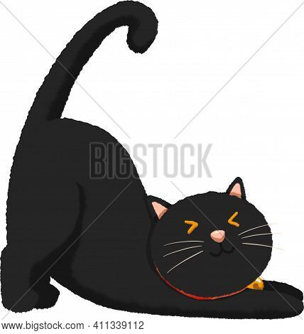 Black Cat Stretching With Red Collar And Golden Bell