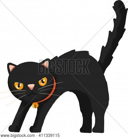 Black Cat Spiked Hair With Red Collar And Golden Bell