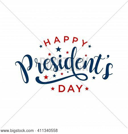 Happy Presidents Day Background. Vector Illustration Hand Drawn Text Lettering For Presidents Day In