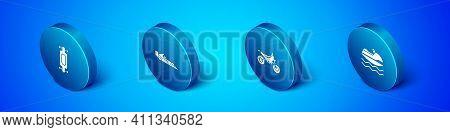 Set Isometric Longboard Or Skateboard, Mountain Bike, Jet Ski And Formula 1 Racing Car Icon. Vector