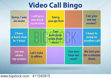 Funny concept with video call bingo